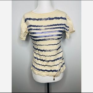 ESCADA 100% Wool Women's T-Shirt Stripes Medium